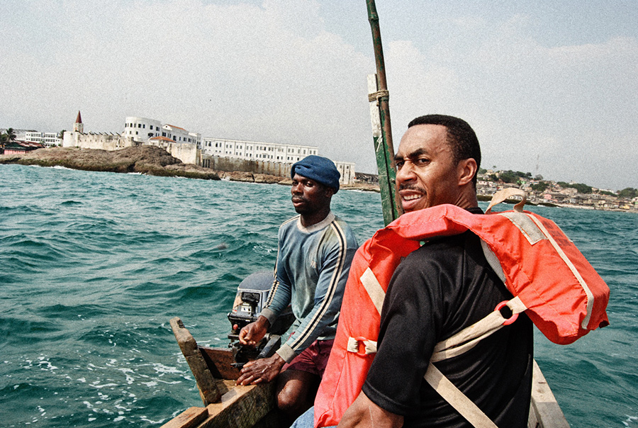 Roy on the Gulf of Guinea; Cape Coast castle in the background Courtesy of Roy Anderson
