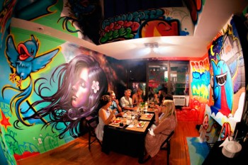 A previous PlaceInvaders dinner took place at a graffiti-covered West Village studio. Where will the next one be?   Photo © PlaceInvaders