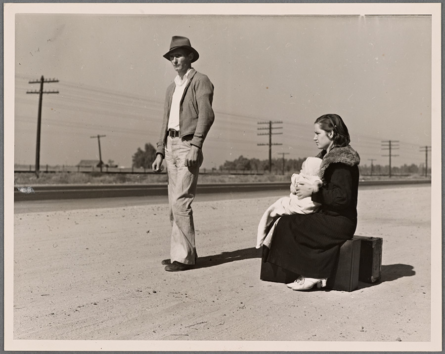 Dorothea Lange. Young family, penniless, hitchhiking on U.S. Highway 99, California. The father, twenty-four, and the mother, seventeen, came from Winston-Salem, North Carolina, early in 1935. Their baby was born in the Imperial Valley, California, where they were working as field laborers. NYPL Digital Gallery. http://digitalcollections.nypl.org/items/ba309cea-9788-4288-e040-e00a18066c61