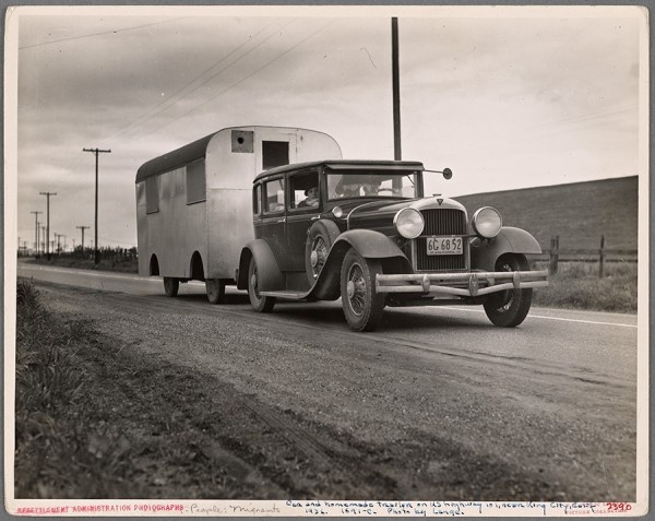 "Dorothea Lange - Car and homemade trailer on U.S. 101 near King City, California. Man and wife middle-aged, from Wisconsin. ""Old Man Depression sent us out on the road ... You don't know anything about how many people are living in trailers till you 'hit' Florida. 1936 http://digitalcollections.nypl.org/items/ba309cea-91fe-4288-e040-e00a18066c61"